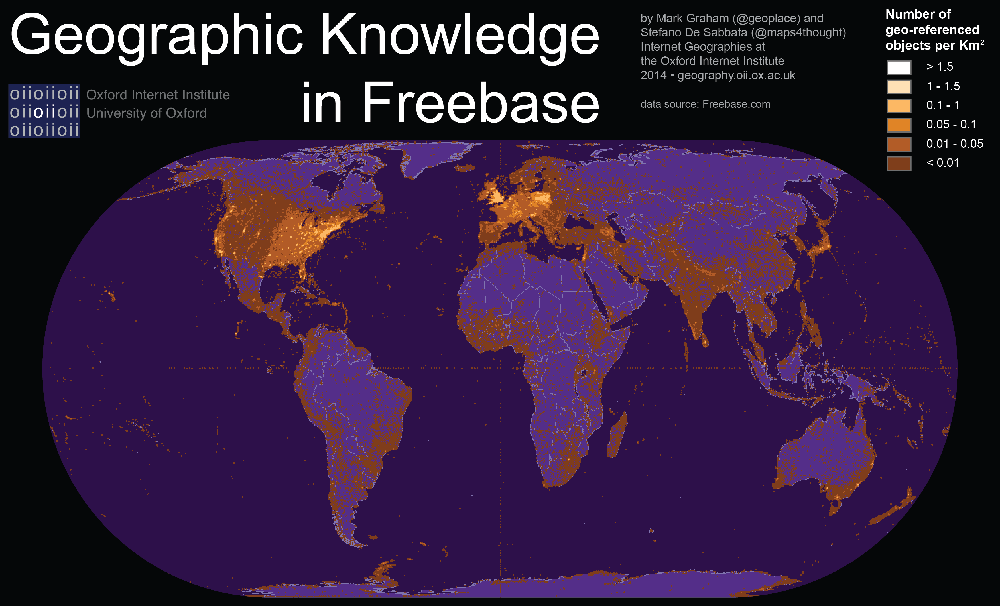 world map of Geographic Knowledge in Freebase