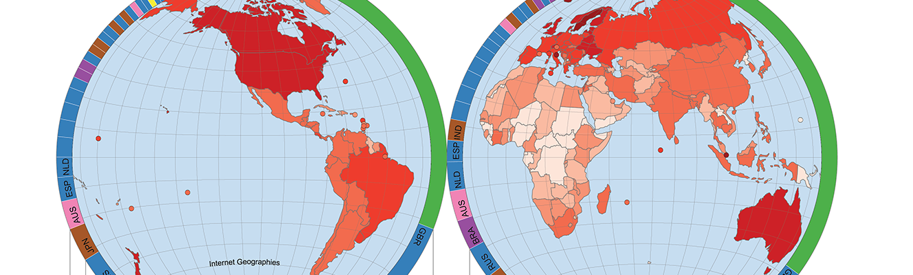 Hemispheres depicting the total number of GitHub users (left) and commits (right) per country.